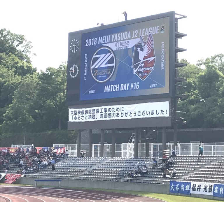 町田ゼルビアvsファジアーノ岡山電光掲示板
