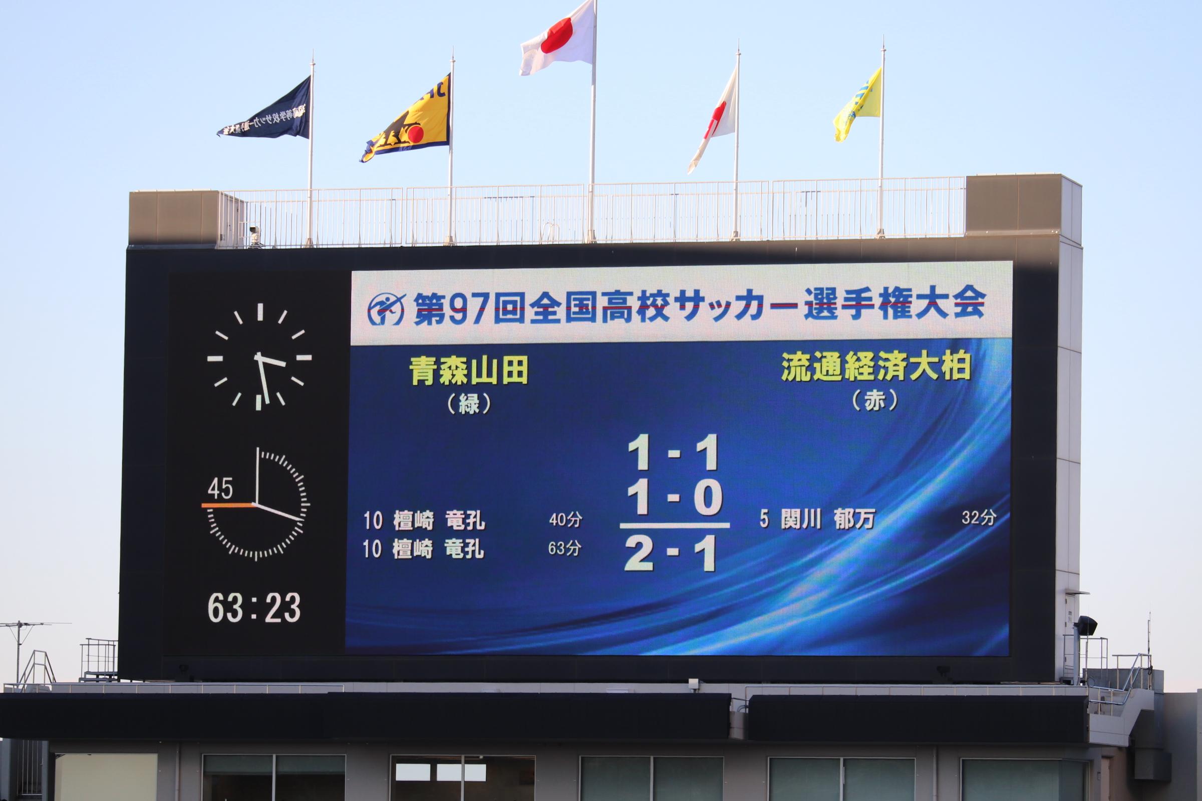 青森山田が日本一!流経大柏はフロンターレラビットとナンバーワン野郎!を披露も逆転負け。