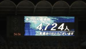 有観客再開試合は4724人